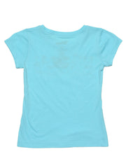 Girls Mickey Mouse Rainbow T-Shirt Blue Short Sleeve