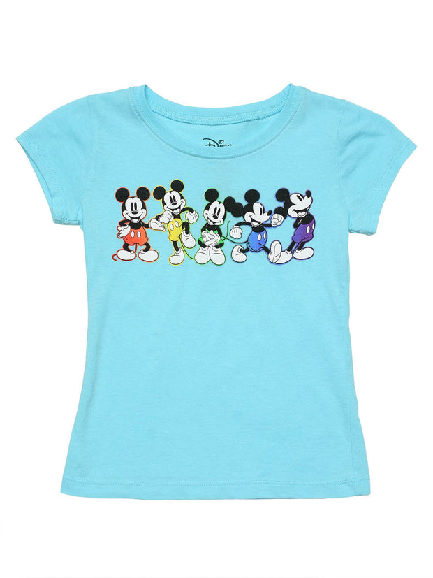 Girls Mickey Mouse Rainbow T-Shirt Blue