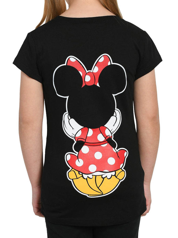 Disney Girls Minnie Mouse Graphic T-Shirt Front & Back Design Black