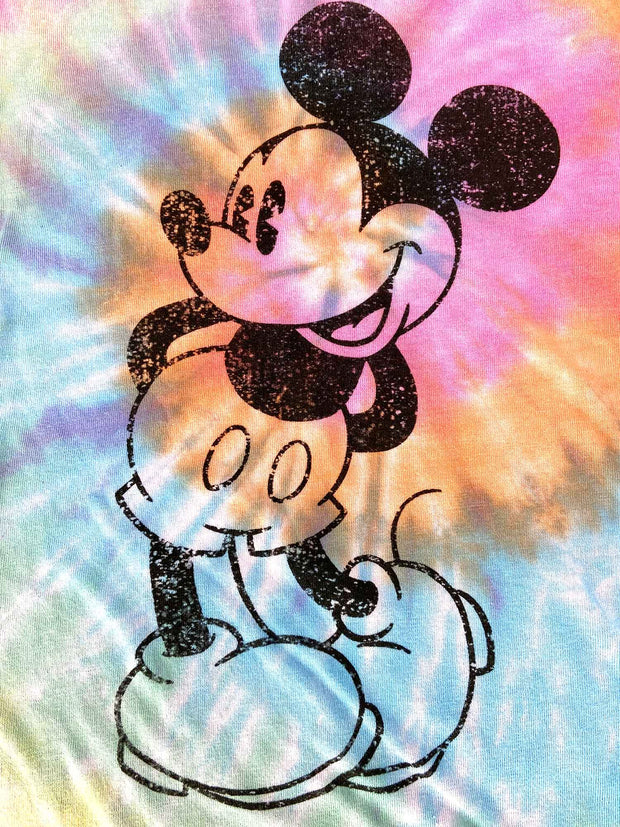 Girls Mickey Mouse Tie Dye T-Shirt w/Cap Sleeves Slim Fit Multi-Color