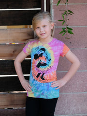 Girls Minnie Mouse Tie Dye T-Shirt w/Cap Sleeves Multi-Color Slim Fit