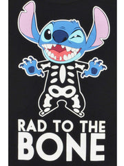 Girls Stitch Halloween Skeleton T-Shirt Black Rad to the Bone Size Large