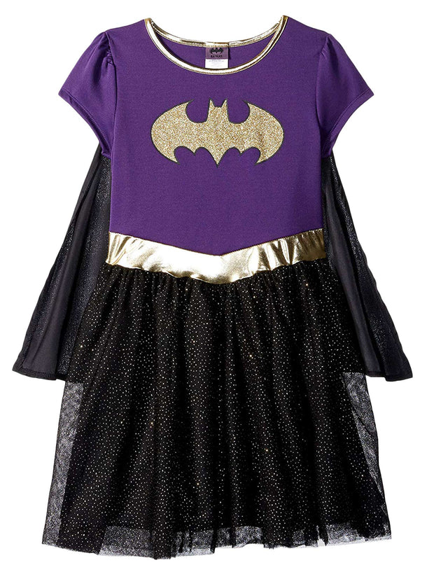 Toddler Girls Batgirl Costume Dress w/ Cape Black Purple Gold Cosplay