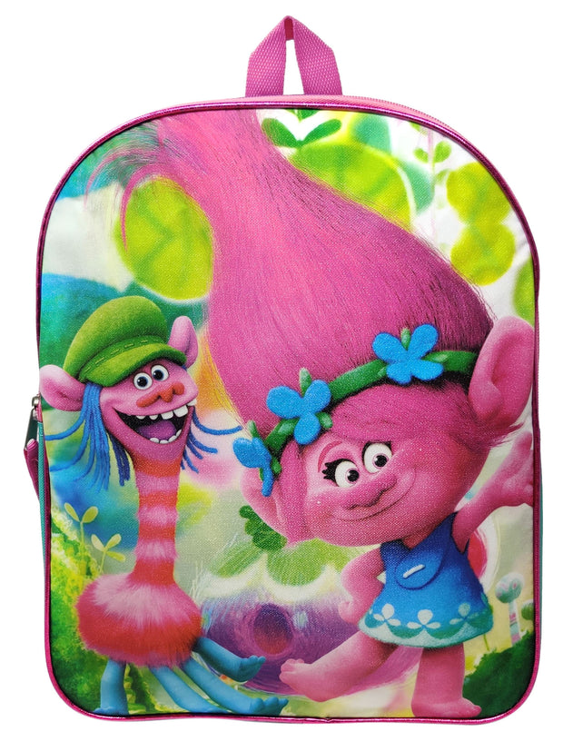"Trolls 15"" Backpack Poppy Cooper Dancing Glitter & Insulated Lunch Bag 9"" Pink"