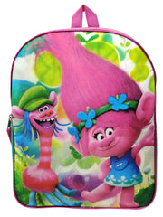 "Trolls 15"" Backpack Poppy & Cooper Dancing w/ 3D Raised Stickers Set (22-CT)"