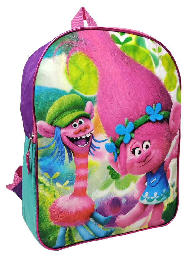 "Girls Trolls 15"" Backpack Cooper Poppy Dance w/ 8-Pack Colored Wooden Pencils"