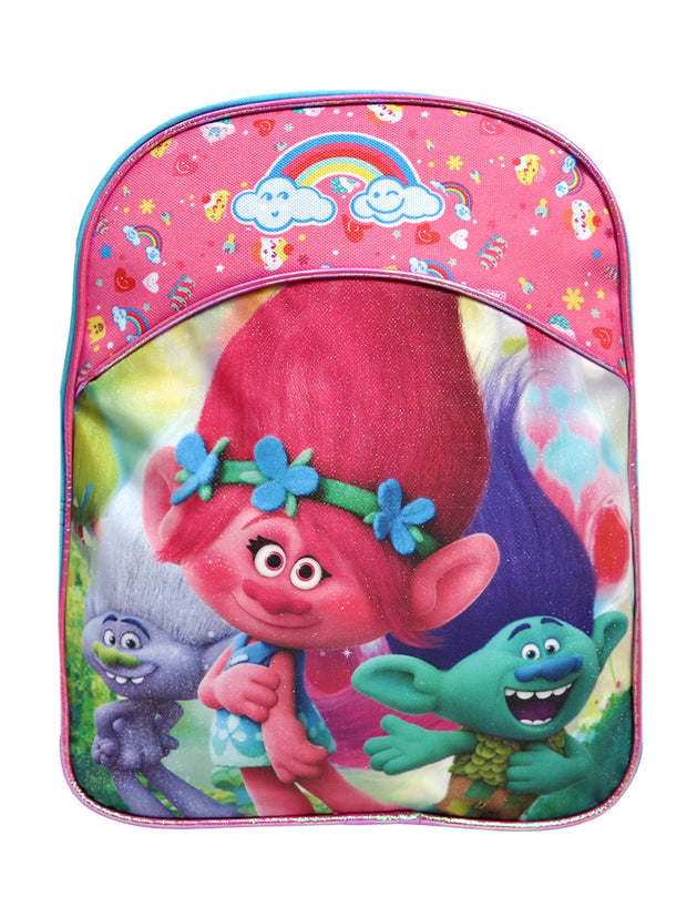 "Girls Trolls Small 11"" Backpack Branch Poppy & 9"" Insulated Lunch Bag"