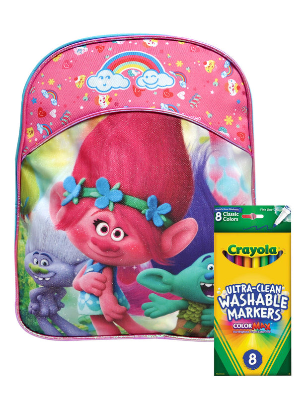 "Trolls 11"" Mini Backpack Poppy Branch Guy w/ 8PK Washable Markers Colormax"