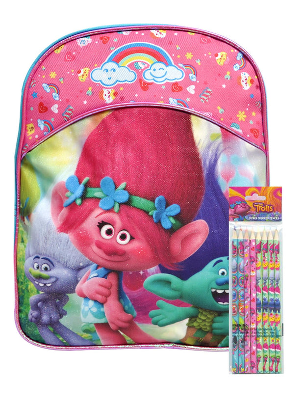 "Girls Trolls Small 11"" Backpack Branch Poppy w/ 8-Pack Colored Wooden Pencils"