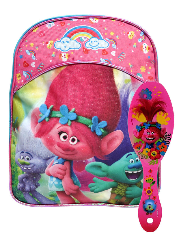 "Dreamworks Trolls Poppy Mini 11"" Backpack Glitter w/ Hair Brush Flowers Design"