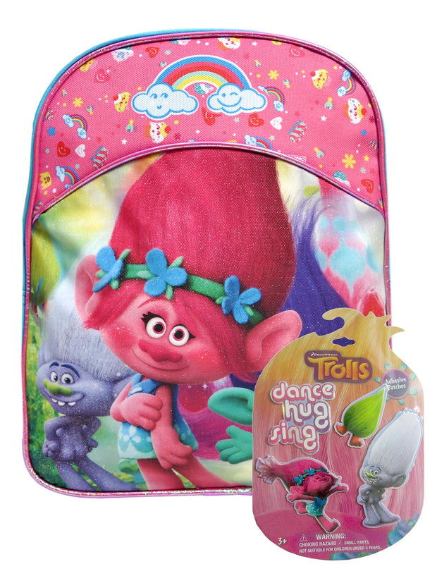 "Girls Trolls Small 11"" Backpack Branch Poppy w/ Guy Diamond Fuzzbert Patches"