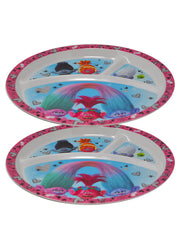 Girls Trolls Round Section Divided Plate BPA-Free 2Ct