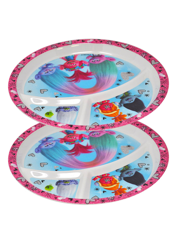 Girls Trolls Round Section Divided Plate BPA-Free 2 Plates