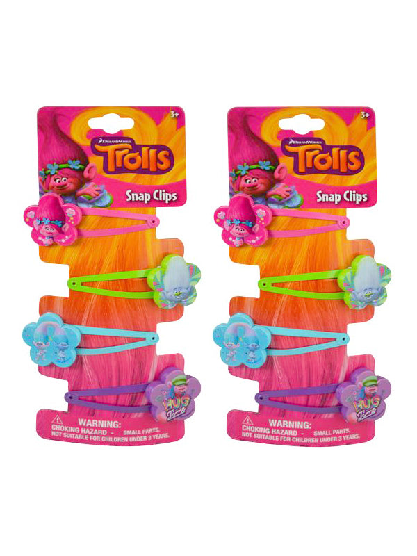 Trolls Girls Hair Snap Clips 2-PACK (8-CT)