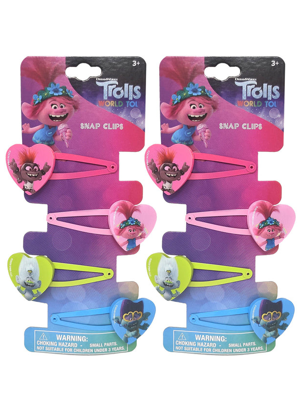 Dreamworks Trolls Girls Heart Shaped Snap Hair Clips Poppy Barb (8-CT)