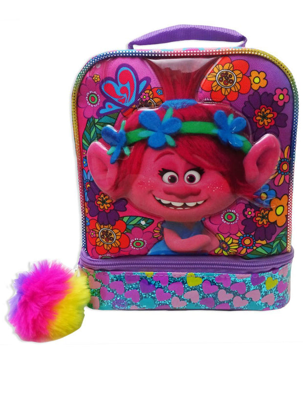 Trolls Dual Comparment Insulated Lunch Bag PomPom Keychain & Food Container Set