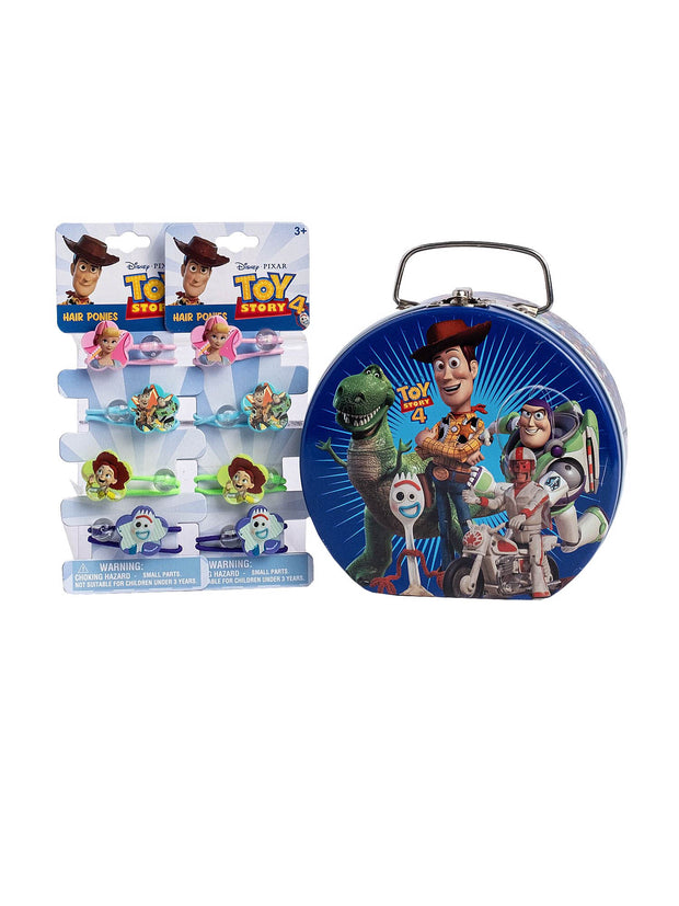 Toy Story 4 Tin Box w/Clasp & Handle & Hair Ponies Ties (8-CT) 3-Piece Set
