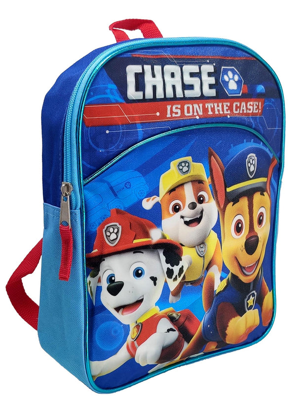 "Paw Patrol 11"" Mini Backpack Blue w/ Boys Chase Marshall 3-Pack Face Masks Set"