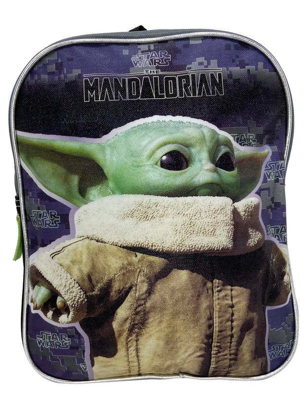 "Disney Star Wars Mini Backpack 11"" Baby Yoda Mandalorian w/ Sliding Pencil Case"