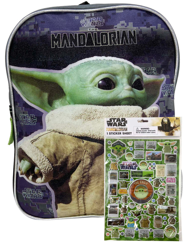 "Disney Star Wars Mini Backpack 11"" Baby Yoda w/ The Mandalorian 3D Stickers Set"