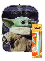 "Star Wars 11"" Small Backpack Grogu Baby Yoda & Ballpoint 4-Color Pastel Pen"