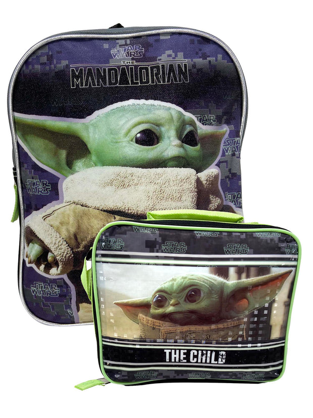 "Star Wars Mini 11"" Mini Backpack The Child w/ Baby Yoda Insulated Lunch Bag Set"
