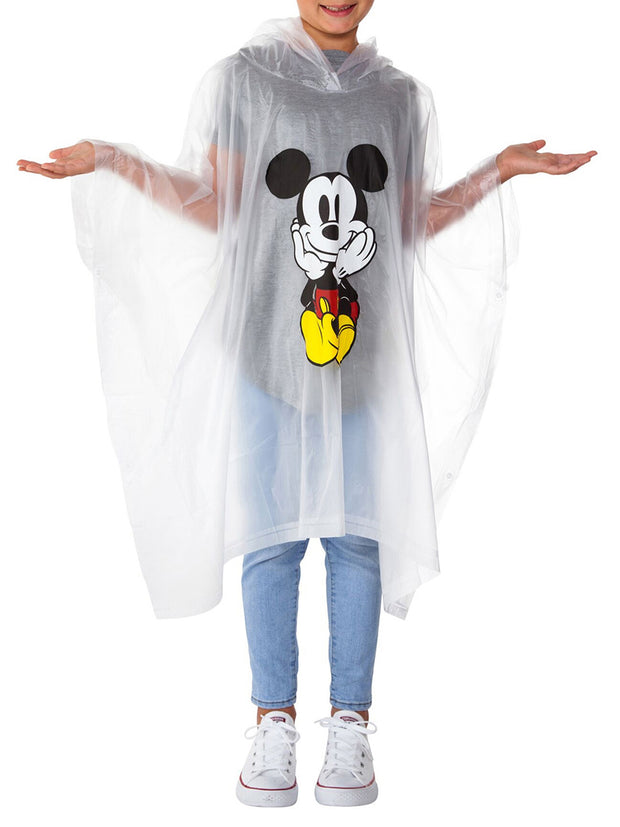 Kids Unisex Mickey Mouse Water Resistant Rain Ponchos 2-PACK Front Back