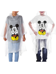 Kids Unisex Mickey Mouse Waterproof Rain Ponchos 2-PACK Front Back