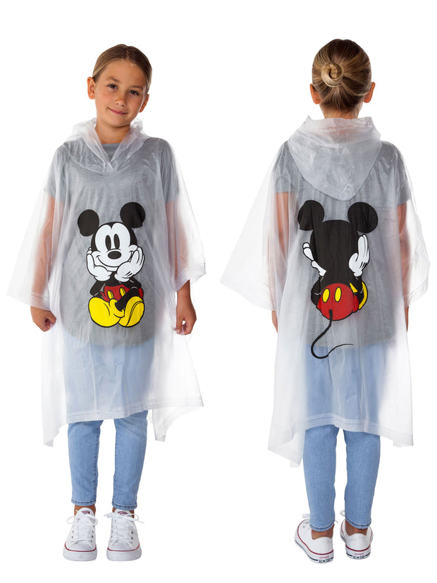 Girls Mickey Mouse Waterproof Rain Poncho - Youth