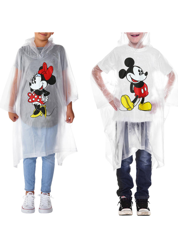 Disney Boys Girls Mickey & Minnie Mouse Rain Poncho Clear Water Resistant 2 Pcs