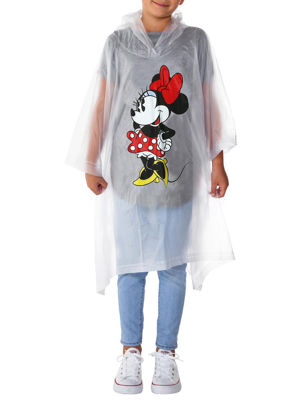 Disney Girls Minnie Mouse Classic Rain Poncho Clear Water Resistant