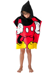 Disney Boys Mickey Mouse Hooded Beach Towel Poncho Red