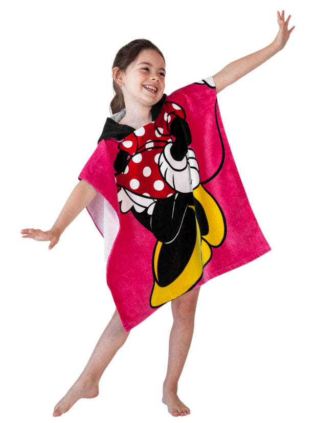 Girls Disney Minnie Mouse Hooded Beach Towel Bath Pink