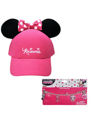 Girls Minnie Mouse Pink Hat with Ears & Charm Bracelet