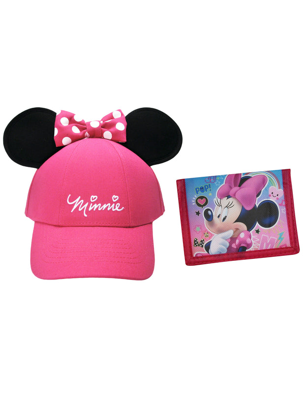 Girls Pink Minnie Mouse Ears Hat with Minnie Wallet 2Pcs