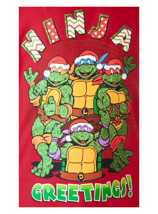 Girls Teenage Mutant Ninja Turtles Christmas T-Shirt Red