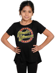 Girls Wonder Woman Shirt Glitter Distressed Logo T-Shirt Black