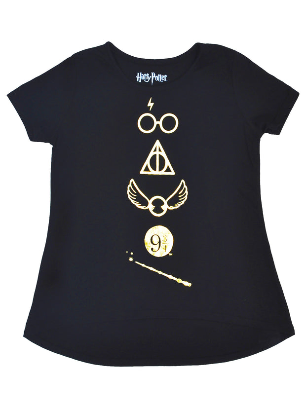 Girls Harry Potter Deathly Hallows Symbols T-Shirt Black