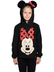 Disney Girls Minnie Mouse 3D Ears & Bow Pullover Sweater Hoodie Size Large