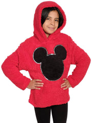 Disney Mickey Mouse Girls Plush Pullover Hoodie Sweatshirt Red (Size Small)
