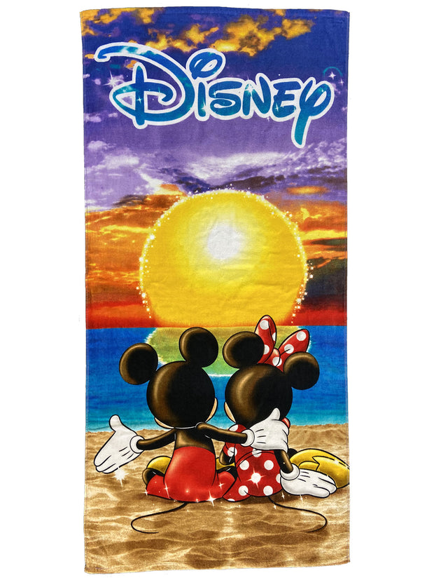 Disney Mickey and Minnie Mouse Sunset Beach Pool Towel 58x28