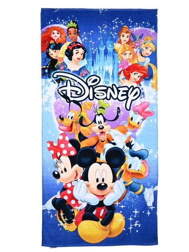 Disney Beach Pool Towel Mickey Minnie Mouse Princesses Goofy Character 58x28