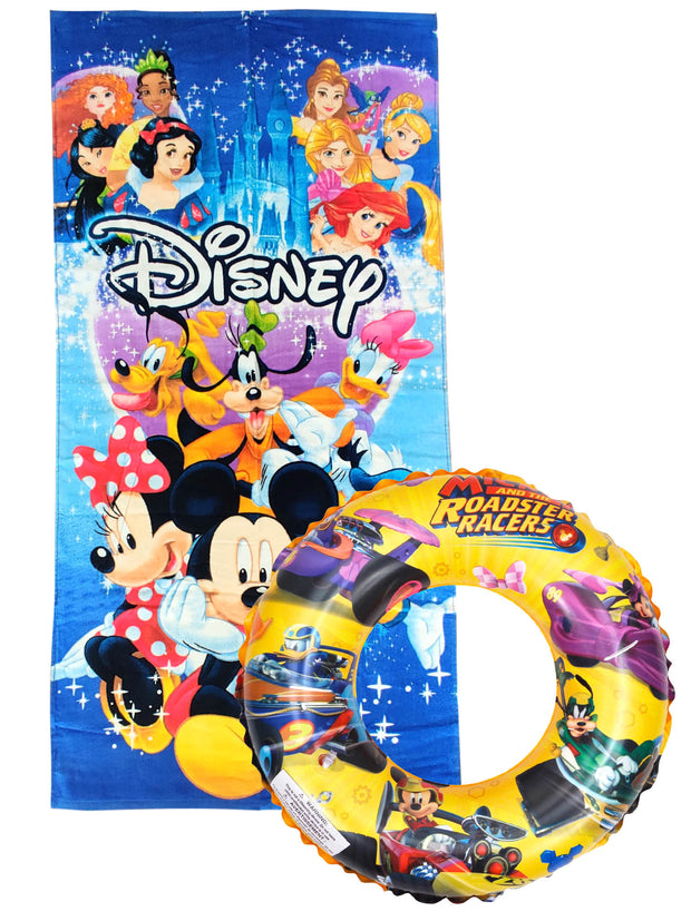 Disney Mickey Mouse Beach Pool Towel 58x28 w/ Roadsters Inflatable Swim Ring