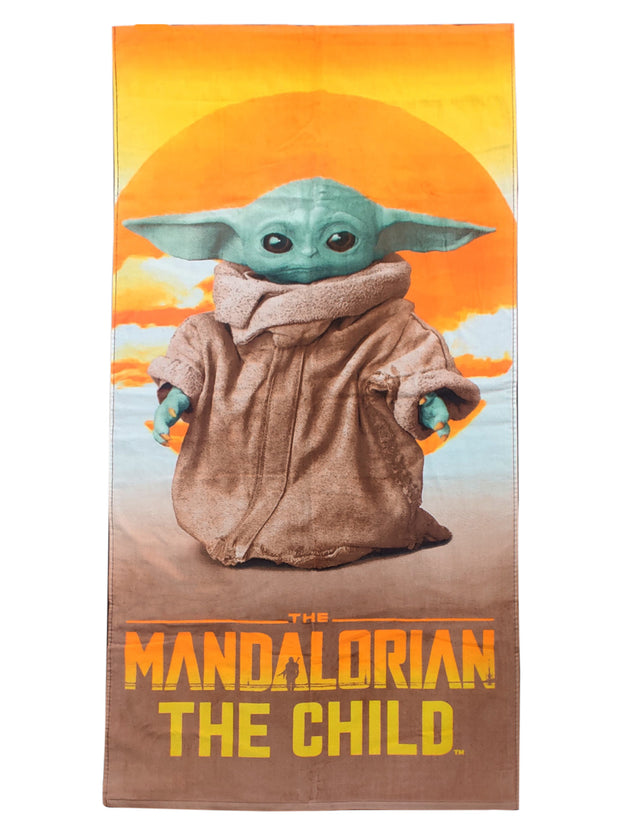 Star Wars The Child Grogu Baby Yoda Beach Pool Towel Mandalorian Sunset 58x28