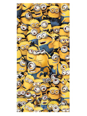 "Despicable Me All over Minion Print Beach Towel w/ String Tote Bag 15"" Yellow"