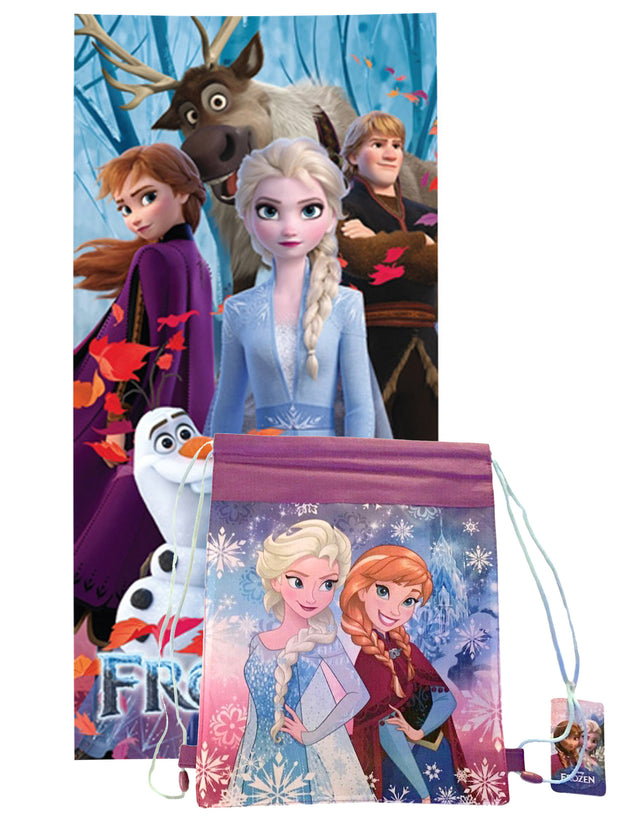 "Disney Frozen 2 Bath Beach Towel 58"" x 28"" w/ Anna & Elsa Drawstring Sling Bag"