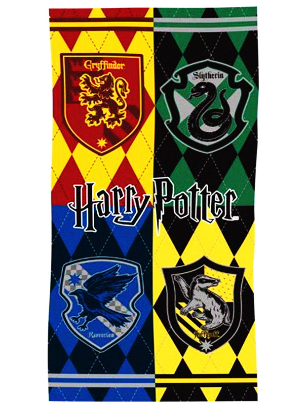 Boys Harry Potter Hogwarts Crest Bath and Beach Towel 58x28 Red Yellow