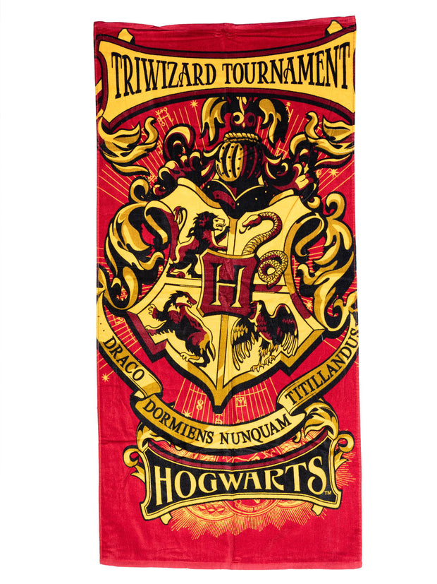 Harry Potter Hogwarts Crest TriWizard Tournament Bath Beach Towel 58x28 Red