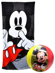 Disney Mickey Mouse Beach Pool Towel 58x28 & Beach Ball Set