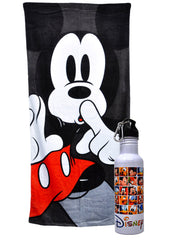 Mickey Mouse Beach Pool Towel 58x28 w/ Disney Aluminum Wide Water Bottle Set